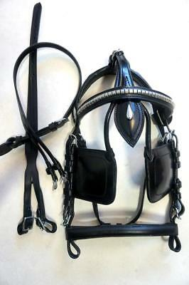 Driving Harness - Accented Trim Black H.duty Horse/ Cob Bridle+ OverCheck For Driving Cart Harness