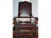 Imposing antique/vintage regal armchair with carved wood