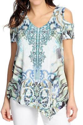 - NEW - One World Printed Knit Cold Shoulder Embellished V-Neck Top