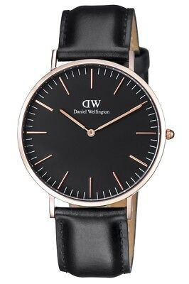New Daniel Wellington Classic Sheffield Black Dial Leather Mens Watch DW00100127