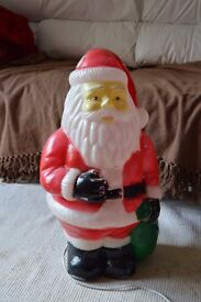 VINTAGE BLOW MOULD COLLECTABLE FATHER CHRISTMAS SANTA CLAUSE CHRISTMAS OUTDOOR OUTSIDE LIGHT FIGURE