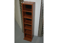 Media Storage Tower Bookcase CD DVD Stand Books Shelves Wooden Unit Rack