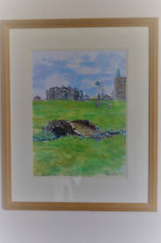 Framed original watercolour of 18th green St Andrews Old Golf Course