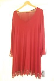 Wine-coloured tunic dress, generous size 20, beautiful lace hem and cuffs, machine washable