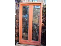 HARDWOOD WINDOWS in FRAMES Reclaimed French Double Glazed Insulated units 3' X 5 1/2'