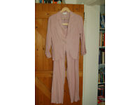 Pamadera pale pink trouser suit with button detailed belt, short jacket 55% linen 16