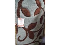 Carved Thick Pile Designer Blue Brown Rug 120cm x 170cm (Display, perfect condition) RRP £120