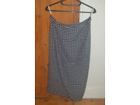3 size 16 straight skirts, Laura Ashley grey, Wallis silk dark blue & Dorothy Perkins