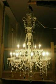 Huge 5 Foot Deep Lead Crystal Chandelier