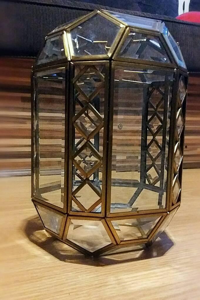 Brass and cut glass crystal lantern. Art deco antique Hexagonal ceiling light lamp shade