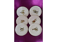 Set of Six Figgjo FlintNorwegian China Fish designs on small Side Plates