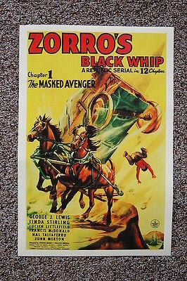 Zorro's Black Whip Lobby Card Movie Poster The Masked Avenger
