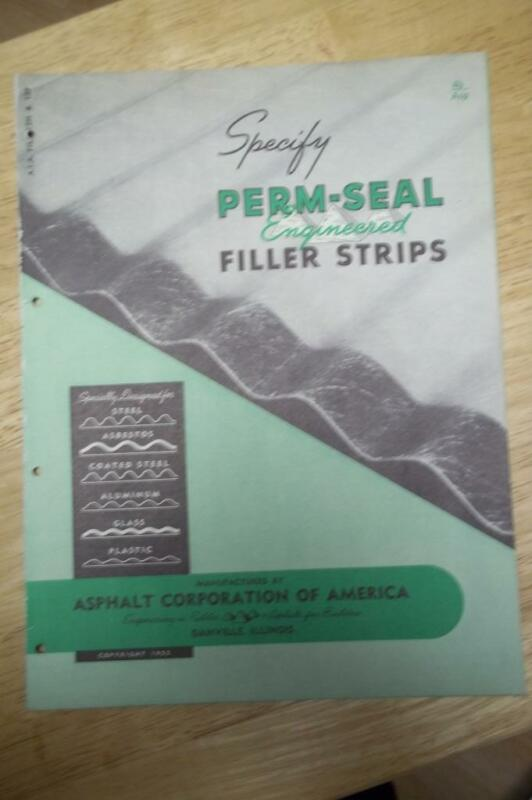 Ashpalt Corporation Catalog~Asbestos~Perma-Seal Filler Strips/Roofing 1952