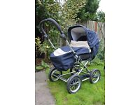 Emmaljunga Duo Combi seat unit and chassis, cover, apron, hood and liner. 6 months+