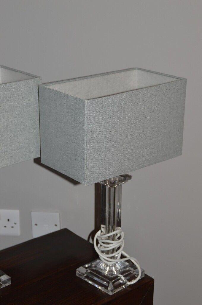 2 X Laura Ashley Perspex Lamp With Rectangular Grey Box Shades In Knightswood Glasgow Gumtree