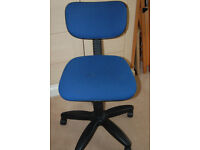 Office Chair adjustable height Blue swivel base on casters
