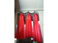 3 deep Salmon pink bridesmaids dresses
