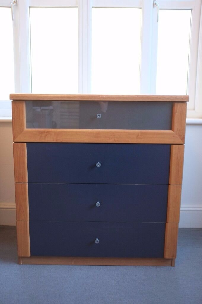 Ikea Askendal Chest Of 4 Drawers Oak Effect Veneer With Dark Blue And Frosted