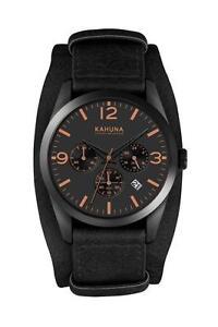 KAHUNA MEN'S BLACK DIAL BLACK CUFF STRAP CHRONOGRAPH WATCH - KSC0014G - RRP:£60