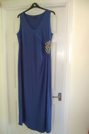 Lovely, blue Ann Harvey maxi dress, with ruched and beaded waist detail, size 22 (but fits size 20)
