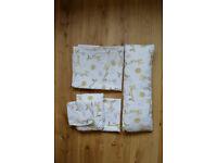 Cot bedding set - Giraffe, bird and sun: sheet, pillow (with pillow case) and cuddle pillow. £10