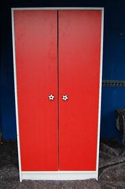 Wardrobe 2 Door Bedroom Furniture Kids Children's Storage with Hanging Rail