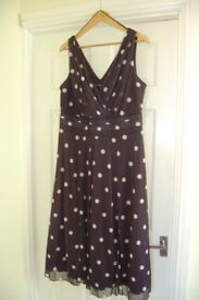 Marilyn Spot Midi Dress by Scarlett & Jo, size 18, dark blue with cream spots, worn once