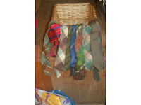 Assorted vintage ties including wool and silk