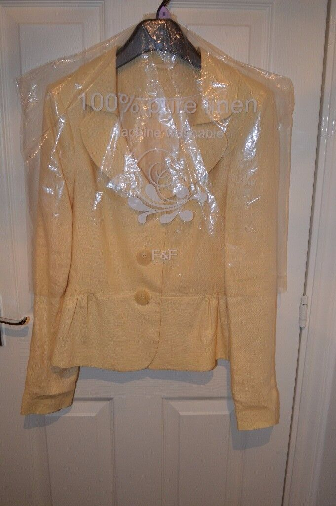 FOR SALE – SIZE 8 LIGHT YELLOW LINEN JACKET