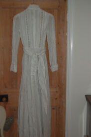 Laura Ashley vintage bridal gown white cotton voile high lace trimmed ruffle neck size 14