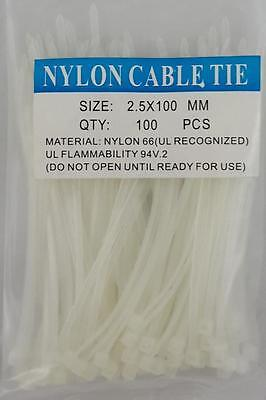 4 White Nylon Cable Tie Zip Heavy Duty Plastic Wire - Pack Of 100pcs
