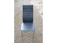 6 Faux Leather Chrome Chairs, black chairs