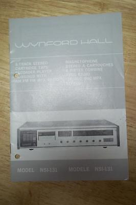 Owner / User  Manual for the Wynford Hall NSI-131 8-Track Tape Player Radio