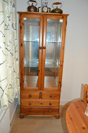 Pine glass fronted display cabinet
