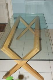 HABITAT DUBLIN glass Dining Table with oak legs - used and very good condition £75.00