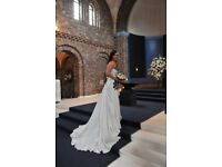 Ivory Wedding Dress with Black Lace Detail Size 10