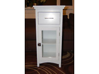 Single Glass Door Bathroom Storage Cabinet White with drawer