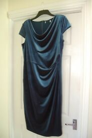 Teal, sparkly bodycon dress with cowl neckline, size 18 but snug, lined.