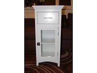 Single Glass Door Bathroom Storage Cabinet White with drawe