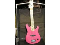 1/2 Size Pink AcousticSolutions Electric Guitar with small Stagg Amplifier