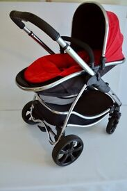 ICANDY STRAWBERRY CHROME CHASSIS PUSHCHAIR WITH FOOT MUFF COST NEW £ 450.00