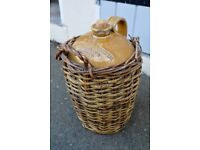 Victorian Stoneware flagon jug Glasgow wine merchant w/ original wicker basket