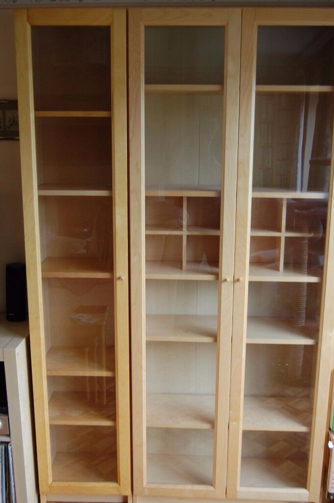 Ikea Billy Bookcase Birch Veneer With Gl Doors