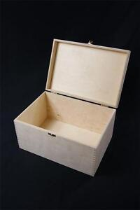PLAIN WOODEN STORAGE BOX CHEST DECOUPAGE CRAFT TRINKET HINGED JEWELLERY (P3525)