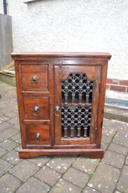 Arighi Bianchi Dark Sheesham Wood and Iron-work TV unit /sideboard/ Lamp Table/drawer unit