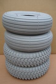 4 X Grey Mobility Scooter Tyres 260x85 (3.00-4) - For Shoprider - Rascal - Freerider and many others