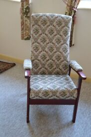 ARM CHAIR with high back, mahogany frame.
