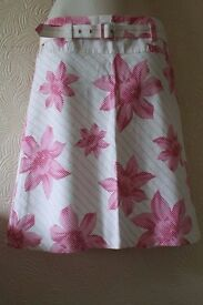 Jane Norman Floral Skirt with Belt Size 8