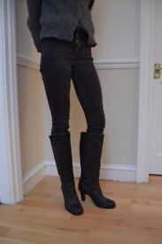 Black Leather mid/high heel boots from Faith - size 6 - Excellent Condition