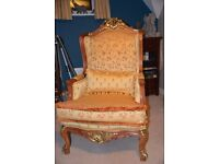 VICTORIAN STYLE ARMCHAIR - REGAL GOLD COLOUR FABRIC - EXCELLENT CONDITION